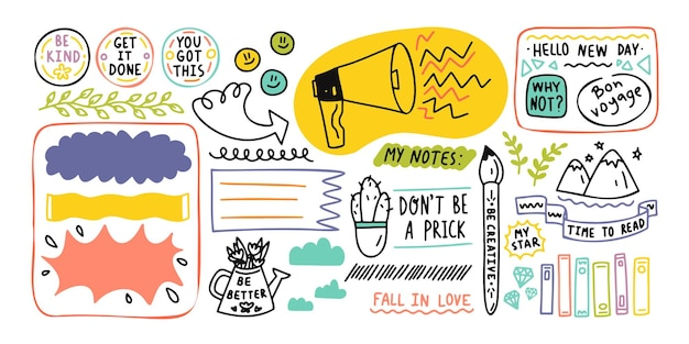 Elementi di diario carino nota. diario di proiettile di scarabocchi disegnati a mano