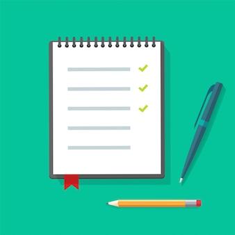 Illustrazione del blocco note o del taccuino di carta del diario con la lista di controllo e le matite della penna sulla scrivania del tavolo