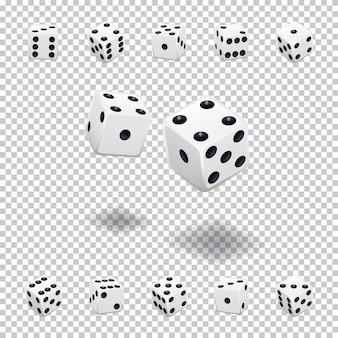 Modello di gioco d'azzardo con dadi, cubi bianchi in diverse posizioni su sfondo trasparente.