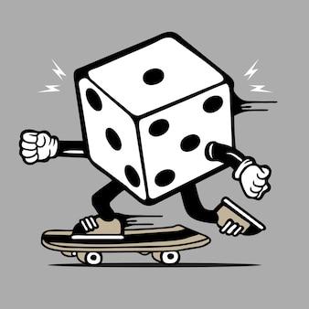 Dice skater skateboard character