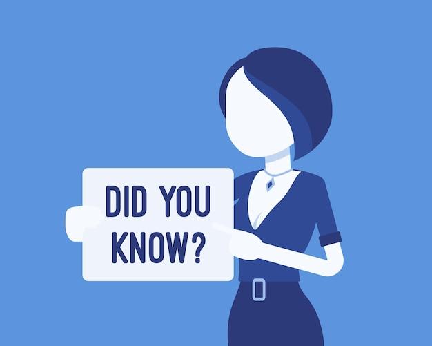 Lo sapevi annuncio femminile. ragazza con segno, fare clic per informazioni utili, banner di aiuto tutorial, assistenza sanitaria donna