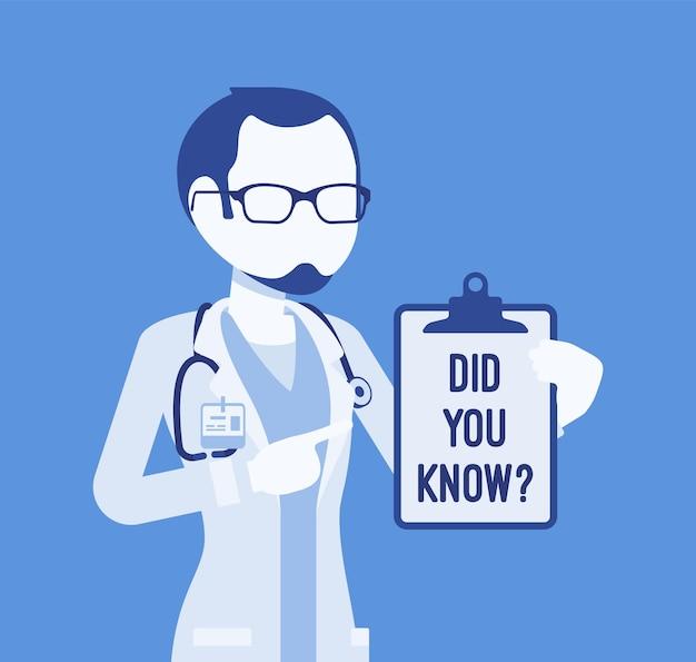 Sapevi che l'annuncio del dottore maschio. consultazione medica professionale per uomini, popolare collegamento alla spiegazione dei fatti sanitari