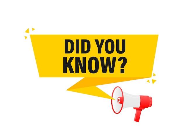 Lo sapevi che il megafono giallo banner in 3d style illustration.