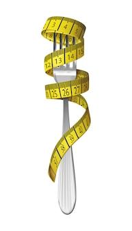 Illustrazione di concetto di dieta. forcella con metro a nastro su di esso. isolato su sfondo bianco