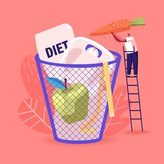 Fallimento della dieta. piccolo personaggio maschile lancia carote, pesi e mela in un enorme cesto.