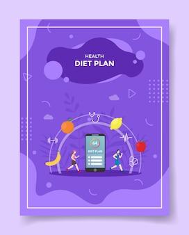 Piano dietetico per un sano concetto per modello di volantino