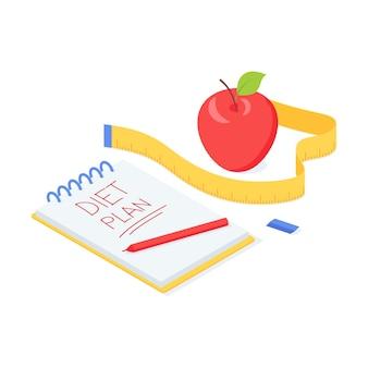 Illustrazione isometrica di vettore di dieta piano con mela matura rossa, nastro di misurazione e blocco note con segno.