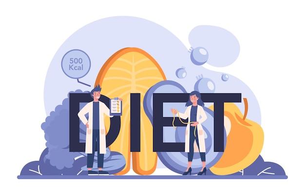 Intestazione tipografica di dieta. terapia nutrizionale con cibo sano e attività fisica.