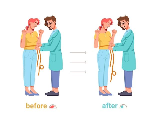 Il nutrizionista dietista aiuta i risultati della donna in sovrappeso prima e dopo il dietologo del vettore con il metro