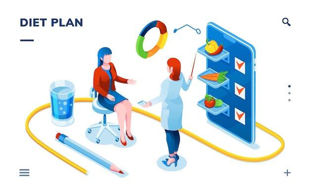 Dietista e paziente donna per la consultazione di un medico dietista per l'applicazione di dietologia per smartphone su smartphone