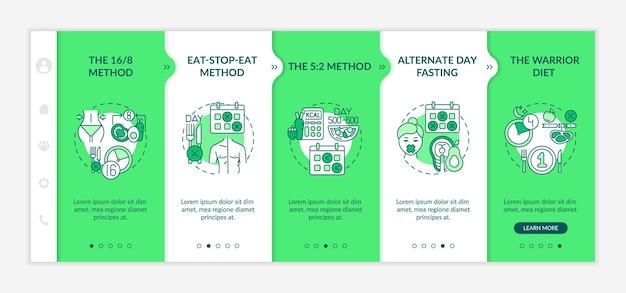 Modelli di dieta onboarding app mobile template