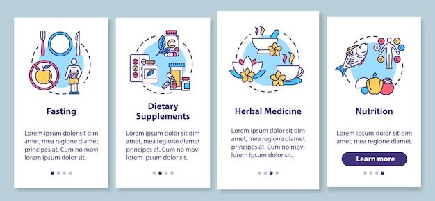 Diete ed erbe a bordo della schermata della pagina dell'app mobile con concetti. una sana alimentazione e integratori alimentari: istruzioni grafiche in quattro passaggi. modello vettoriale dell'interfaccia utente con illustrazioni a colori rgb