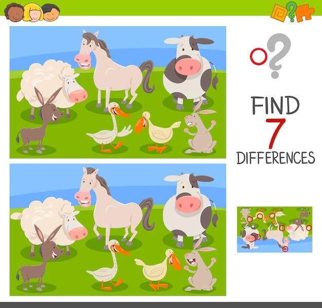 Differenze edu game con animali da fattoria