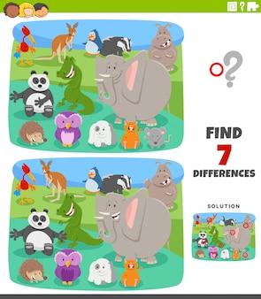 Gioco educativo di differenze con animali cartoon