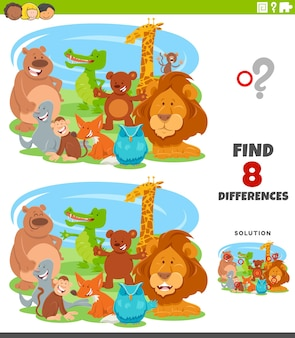 Differenze gioco educativo con animali dei cartoni animati