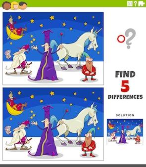 Differenze gioco educativo con personaggi fantasy