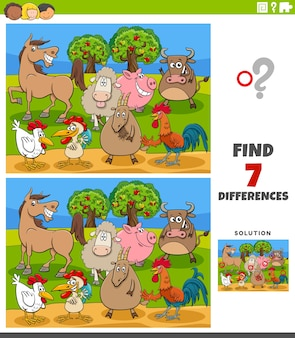 Differenze gioco educativo con personaggi di animali da fattoria