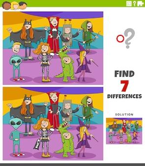 Differenze compito educativo per bambini con personaggi di halloween