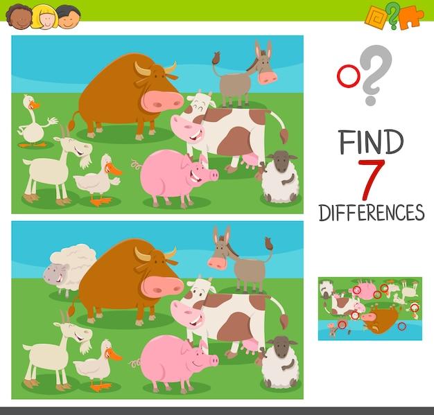 Gioco di differenze per bambini con animali da fattoria
