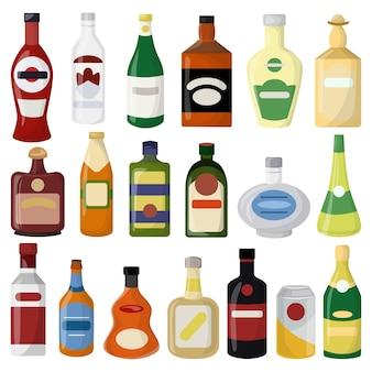 Set di bottiglie di diverse bevande alcoliche. birra e vino, vodka e gin