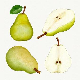 Diversi angoli di frutta pera