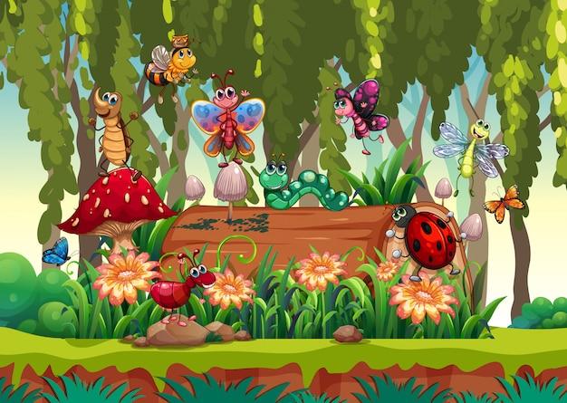 Diversi animali da giardino con legname in background giardino