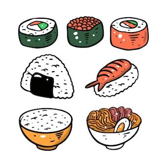 Set di cibo asiatico diverso. piatto colorato. isolato su sfondo bianco. design per poster, banner, stampa e web.
