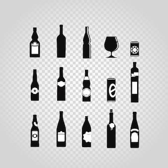 Diversi set di bottiglie e bicchieri neri isolati su trasparente