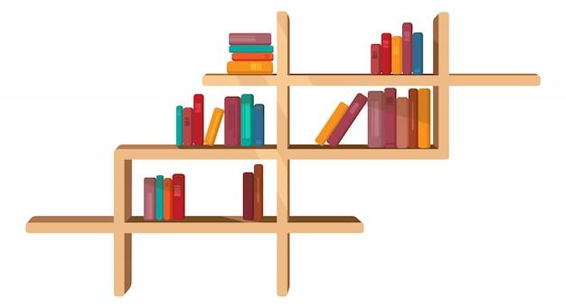 Diversi libri sullo scaffale. illustrazione vettoriale in stile cartone animato.