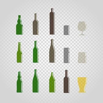 Set di bottiglie e bicchieri diversi isolati su trasparente