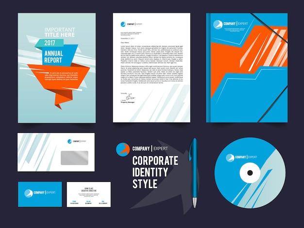 Insieme di elementi di identità aziendale diversi. modello di stile corporale. illustrazione di società di affari aziendali