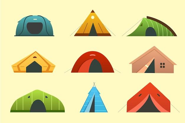 Icone differenti della tenda di campeggio. casa esterna turistica del triangolo e della cupola. tende da campeggio per escursionismo e trekking per il riposo.