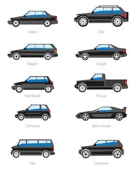 Set di icone di tipi di auto differenti