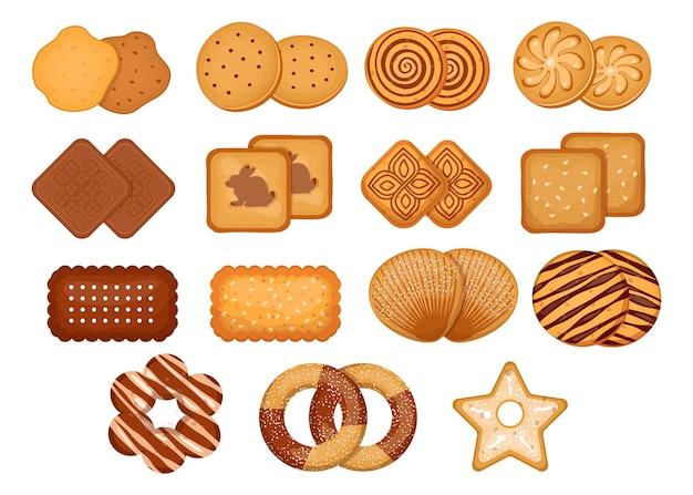 Set di illustrazioni di diversi biscotti dei cartoni animati
