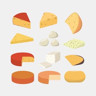 Set di formaggi diversi. gouda e mozzarella, cheddar e parmigiano.
