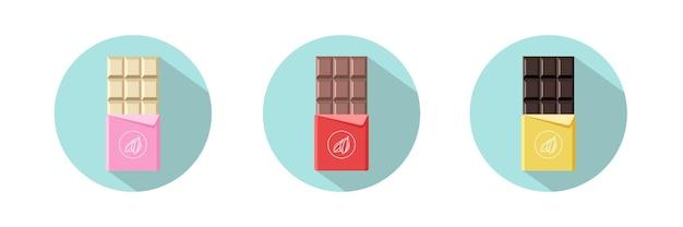 Icone differenti della barra di cioccolato