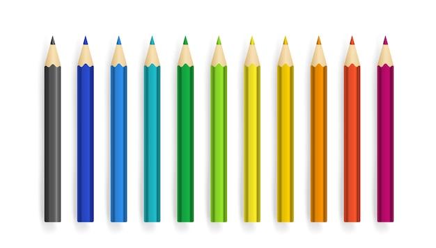 Insieme di vettore di pastelli di colore diverso isolato su bianco