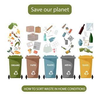 Bidoni della spazzatura riciclati colorati differenti, concetto di gestione dei rifiuti. separazione dei rifiuti su bidoni della spazzatura. smistamento dei rifiuti per il riciclaggio.