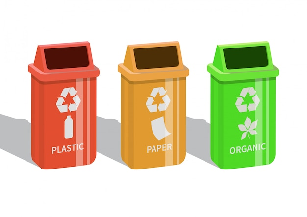 Bidoni della spazzatura di diversi colori con carta, plastica e rifiuti organici adatti al riciclaggio. sfondo bianco. illustrazione.