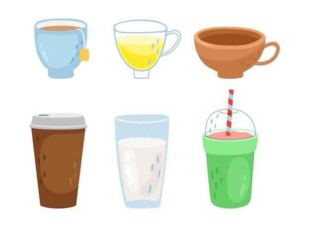 Tazze diverse. tazza da tè e caffè, bevande calde da asporto. insieme di vettore di frullati, latte e cocktail analcolici
