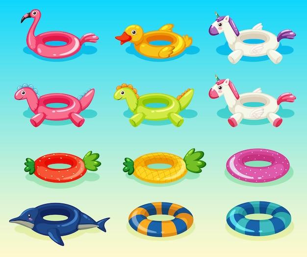 Diversi set di anelli da nuoto carini