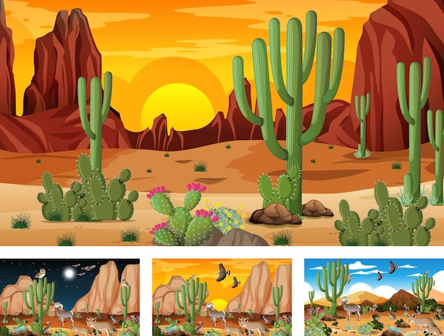 Diverse scene di paesaggi della foresta del deserto con animali e piante