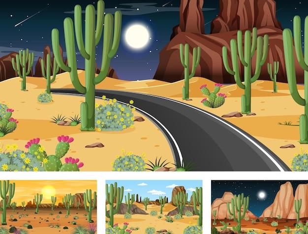 Diverse scene di paesaggi della foresta del deserto con varie piante del deserto