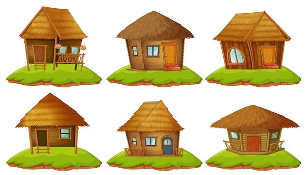 Diversi disegni di cottage in legno