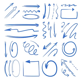 Set di frecce differenti di doodle. le immagini isolano su bianco. doodle freccia di direzione, illustrazione della freccia del puntatore di schizzo