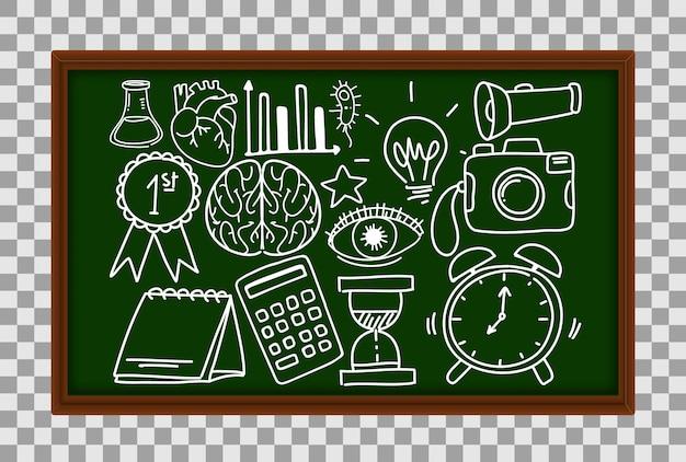Diversi tratti di doodle sulle apparecchiature scientifiche sulla lavagna su sfondo trasparente
