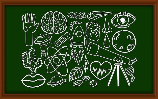 Diversi tratti di doodle sulle apparecchiature scientifiche sulla lavagna