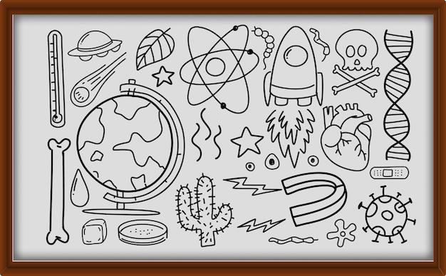 Diversi tratti di doodle sull'attrezzatura scientifica nel telaio di legno