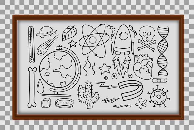 Diversi tratti di doodle sulle attrezzature scientifiche nel telaio di legno su sfondo trasparente