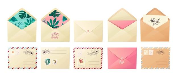 Set di buste diverse. realizza buste con vari francobolli, timbri postali e scritte: grazie, amore.